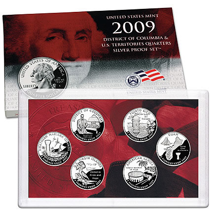 Territories Mint Proof QUARTERS Set of 6 District of Columbia /&  U.S 2009 U.S