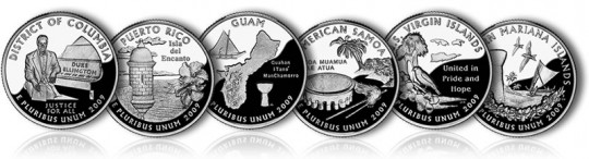 2009 DC and US Territories Quarters (Proof Versions) - Click to Enlarge