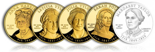 2009 First Spouse Gold Coins (Obverse, Proof Versions) - Click to Enlarge