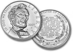 Lincoln Commemorative Uncirculated Silver Coin - Click to Enlarge
