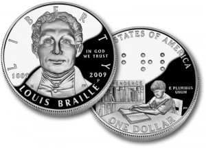 Louis Braille Commemorative Proof Silver Coin - Click to Enlarge