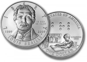 Louis Braille Uncirculated Silver Coin - Click to Enlarge