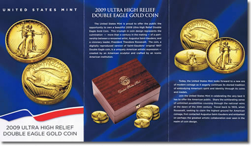 The first three of ten panels from the United States Mint 2009 Ultra High Relief Double Eagle Brochure