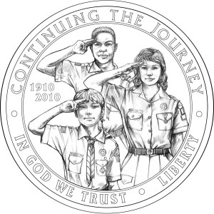 2010 Boy Scout Commemorative Coin Line-Art Obverse - Click to Enlarge