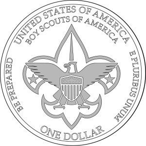 2010 Boy Scout Commemorative Coin Line-Art Reverse - Click to Enlarge