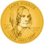 Jane Pierce First Spouse Gold Coin line art obverse