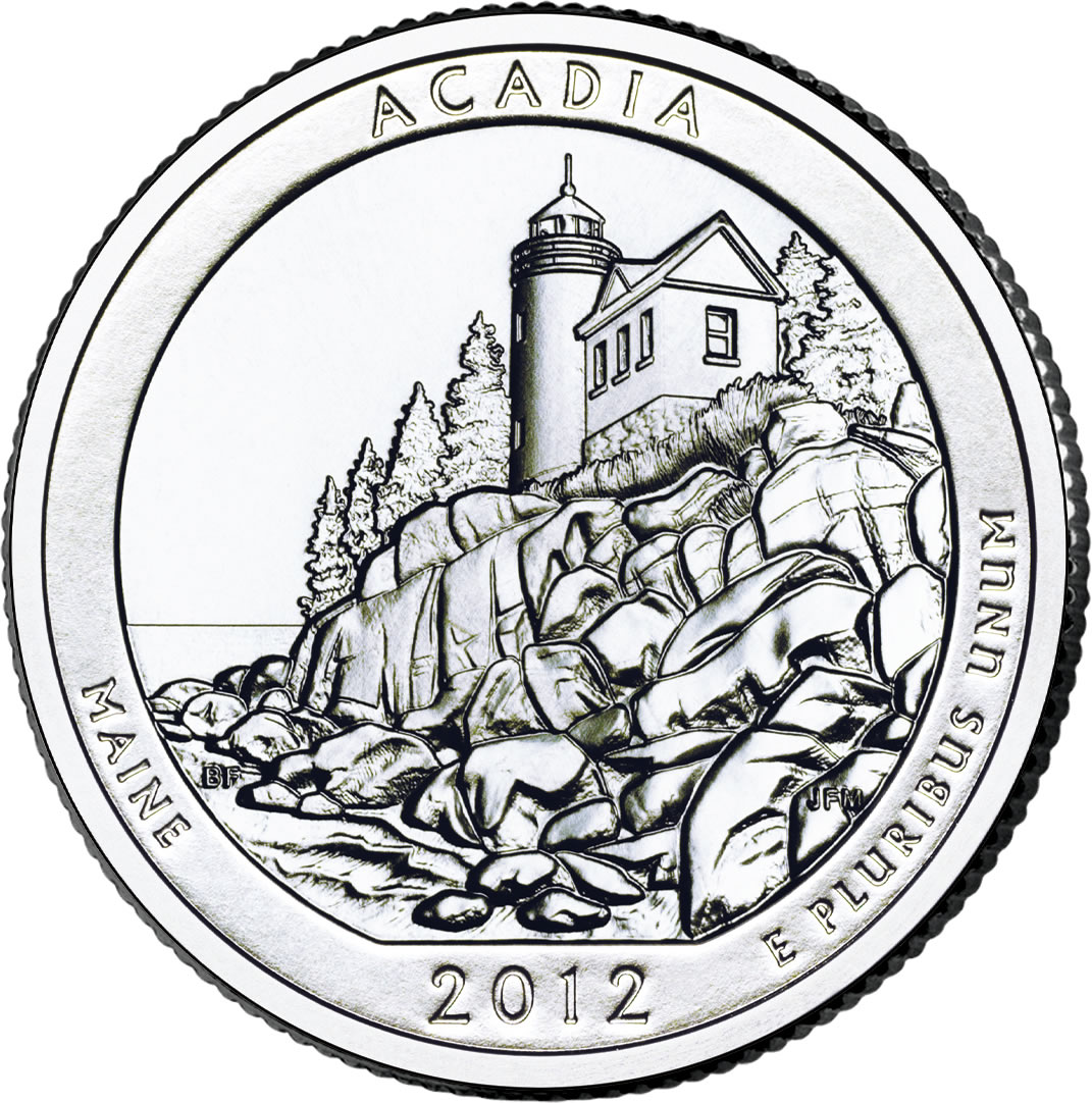 Acadia National Park Quarter US Mint Image - Us national park quarters book