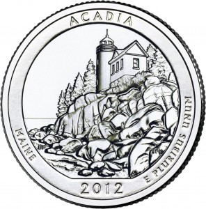2012 Acadia Silver Coin (associated quarter image shown) (US Mint image)