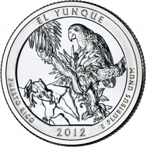 2012 El Yunque Silver Coin (associated quarter image shown) (US Mint image)