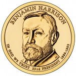 2012 Benjamin Harrison Presidential $1 Coin (US Mint image)