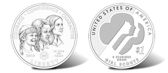 2013 Girl Scouts of the USA Centennial Silver Dollar (Line-Art)