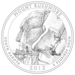 2013 Mount Rushmore Silver Coin Line-Art